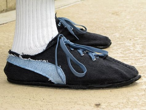 The ultimate recycle. Make your own shoes from tires and old blue jeans. Would have been fun to add the jean snaps as a fasteners rather than buying shoe laces & eyelets.