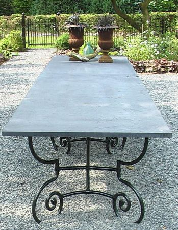 Outdoor Concrete Top Patio Table With Cast Aluminum Cast Iron
