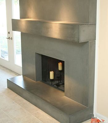 Metal Glass Mantels Shelves Fireplace Remodel Concrete