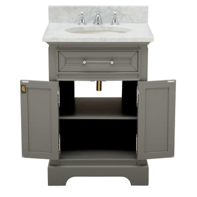 Water Creation 24 In W X 21 5 In D Vanity In Cashmere Grey With Marble Vanity Top In Carrara White Mirror And Chrome Faucet Derby 24gbf The Home Depot Marble Vanity