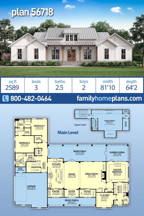 metal building houses Modern Farmhouse Plan is 2589 Sq Ft, 3 Beds, Baths and a 2 Car Garage and Screen Porch This Modern Farmhouse home offers three bedrooms with a large Layouts Casa, House Layouts, New House Plans, Dream House Plans, Modern Farmhouse Plans, Farmhouse Style, Master Closet, Master Suite, Master Bedroom