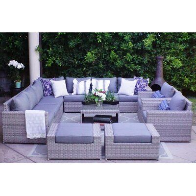 Sol 72 Outdoor Kordell 12 Piece Sectional Seating Group With