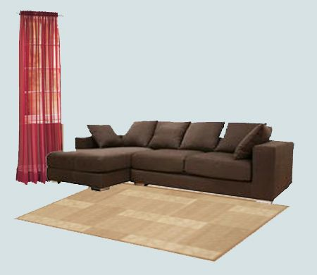 Dark Brown Furniture Red Curtain Combo