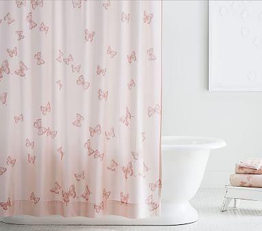 Monique Lhuillier Organic Sateen Butterfly Shower Curtain