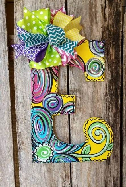 21 Ideas Painting Wood Letters Girl Front Doors Letter Door Hangers Initial Door Hanger Wood Letters