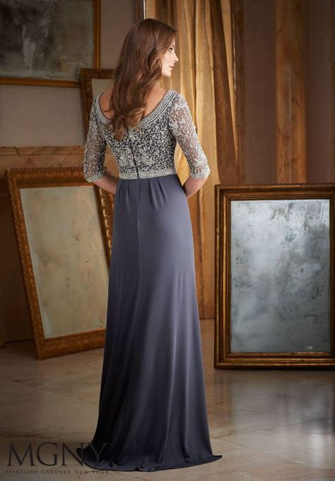 e6e328890f83 BACK TO COLLECTION Evening Gown 71401 INTRICATE BEADING ON JERSEY Colors  available: Charcoal, Emerald, Navy