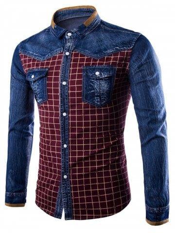 YYear Mens Long Sleeve Lapel Casual Plaid Slim Fit Cotton Button Down Flap Pockets Shirts