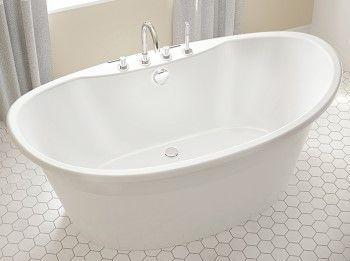 Freestanding Soaking Tub Center Drain Double Slipper Faucets
