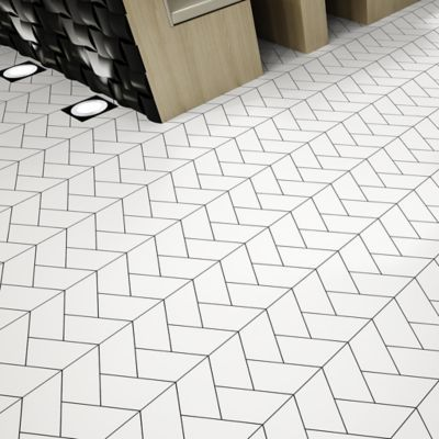 Ann Sacks Vertice Trapezium In White With Gray Grout Bathroom Flooring Ann Sacks Tiles Flooring