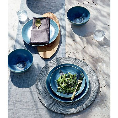 Phase Reactive Blue Green Dinnerware Cb2 With Images Green Dinnerware Modern Placemats Dinnerware