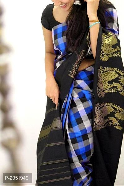 Indian Women/'s Blue Mysore Silk Printed Saree with Blouse Piece,Free Shipping