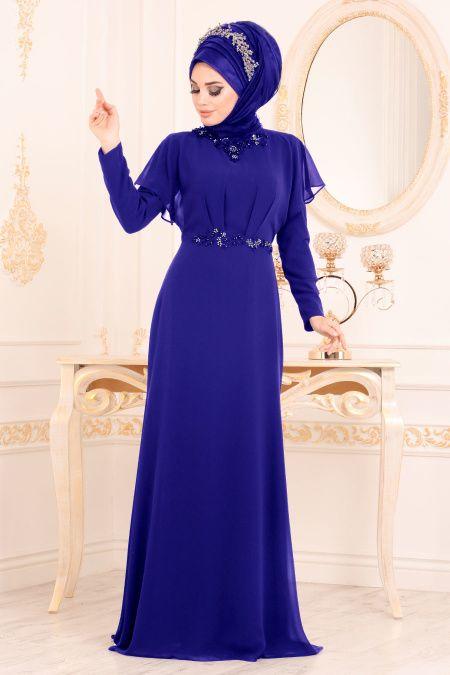 Tesetturlu Abiye Elbiseler Evening Dresses Sax Blue Hijab Evening Dress 3784sx The Dress Elbiseler Aksamustu Giysileri