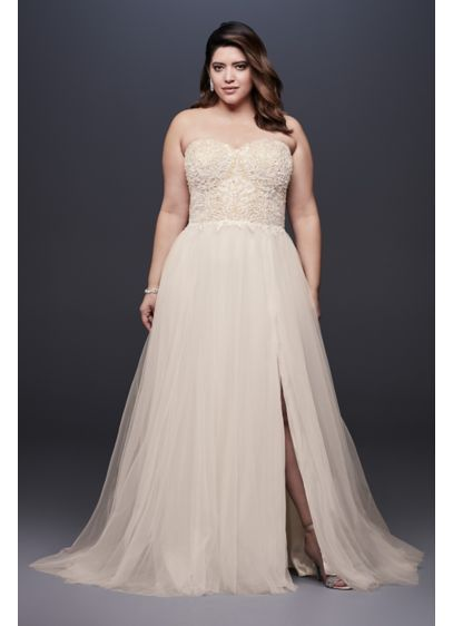 55d8de7c09 Strapless Plus Size Wedding Dress with Tulle Skirt 9SWG764 (No 1 ...
