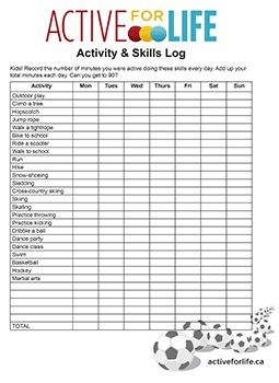 food and activity log