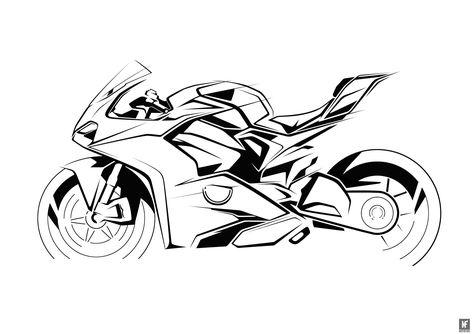 Kleurplaat Motor Fireblade • Kidkleurplaat.nl