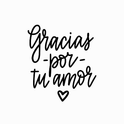 Vector calligraphy design thank you for your love in Spanish. Gracias por tu amor lettering for prints, posterd, banners, cards mugs