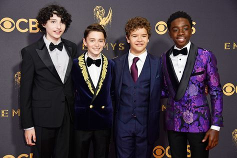 Actors Finn Wolfhard, Noah Schnapp, Gaten Matarazzo and Caleb McLaughlin attend the 69th Annual Primetime Emmy Awards.