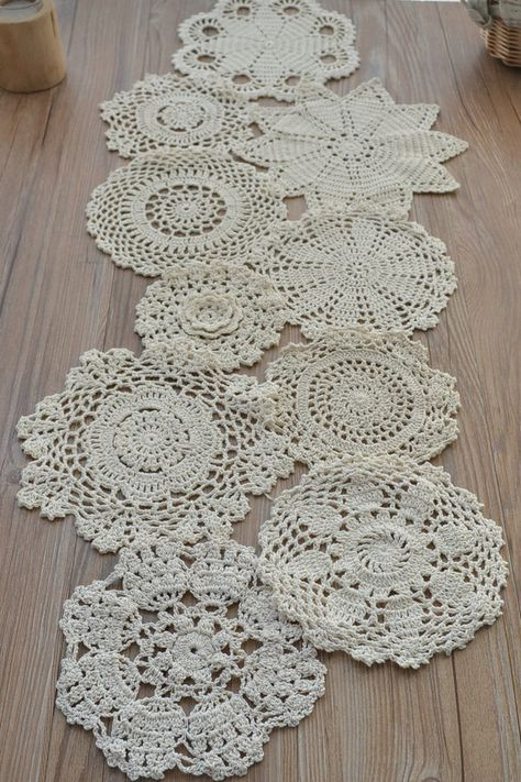 crochet craft in red rectangular frame 6 Doilies  White lace pretty flower lace Vintage Lace Example Framed