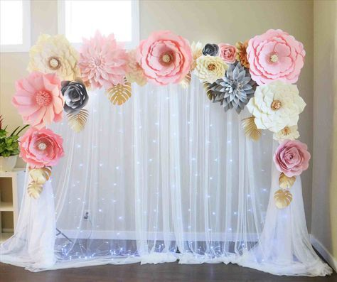 Stage Decoration With Paper Flowers Paper Flower Backdrop