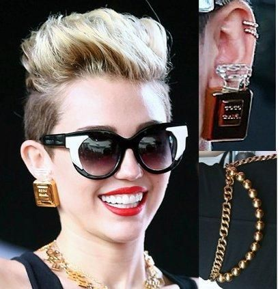 Miley Cyrus Rocks Vintage Chanel Perfume Bottle Earrings Which We Absolutely Adore Moda Accesorios