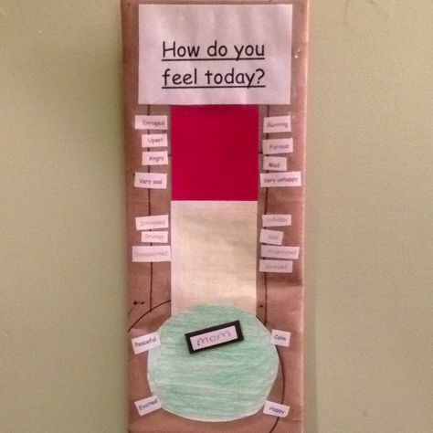 "Feelings chart shaped like a thermometer, for kids. Each color comes with a variety of matching word choices, from ""calm"" to ""frustrated"" to ""enraged"".  Magnets with our names allows the whole family to be involved."