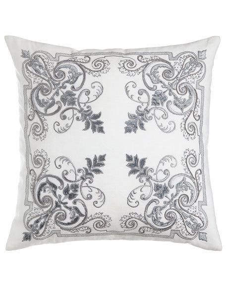 Callisto Home Troyes Embroidered Accent Pillow 22sq Coussin Brode Drap Et Idee Couture