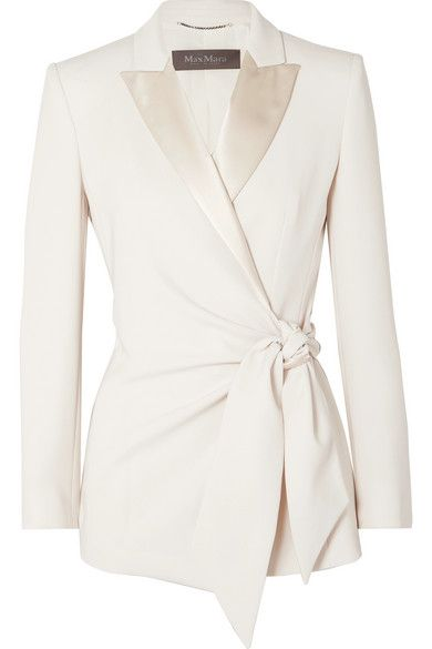 Max Mara - Satin-trimmed Crepe Wrap Blazer - Ivory You are in the right place about orange Blazer Outfit Here we offer you the most beautiful pictures about the yellow Blazer Outfit you are looking fo Max Mara, Blazer Outfits Casual, Dress Outfits, Traditional Gowns, Mode Costume, Blazer Dress, Sleevless Blazer, Wedding Suits, Wide Leg Pants