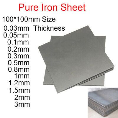 Details About 99 995 Pure Iron Sheet Panel Plate 100 100mm Thick 0 5mm 0 8 Mm 1 1 2 1 5 2 3mm Iron Sheet Pure Products Plastic Sheets