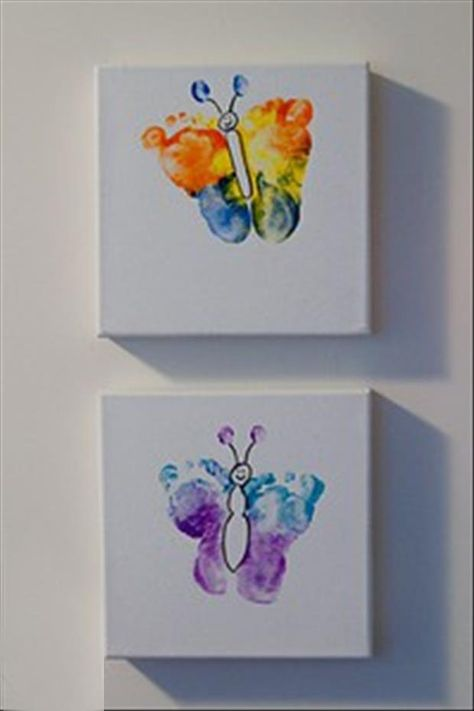 Rainbow Butterfly Footprint Artwork {Crafting with Twinfants