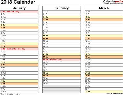 Template 7 2018 Calendar For Excel Months Horizontally 4