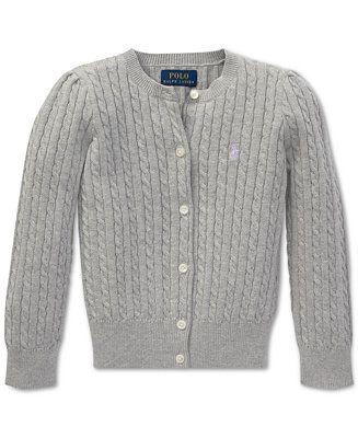 1a50efdc46d6e Polo Ralph Lauren Little Girls Cable-Knit Cardigan Kids - Sweaters ...
