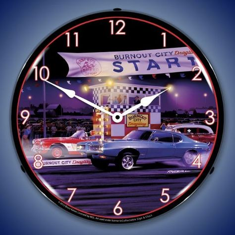 $119.95 Retro Drag City Lighted Wall Clock