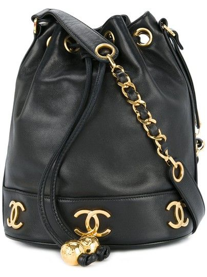 Chanel Bucket Rare Vintage Medium Gold Hardware Cc Logo Tote Black Lambskin Leather Shoulder Bag Vintage Chanel Bag Leather Shoulder Bag Leather Crossbody Bag