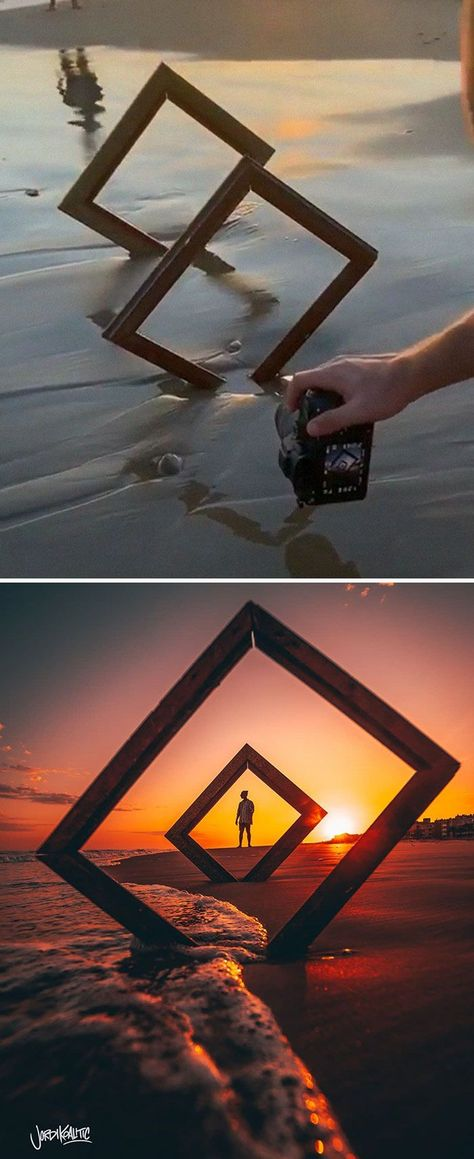 I saw the simple picture frames in the top portion of this photo and then saw the second half and felt blown away! This is something I am definitely interested in trying to take and make with my own twist.