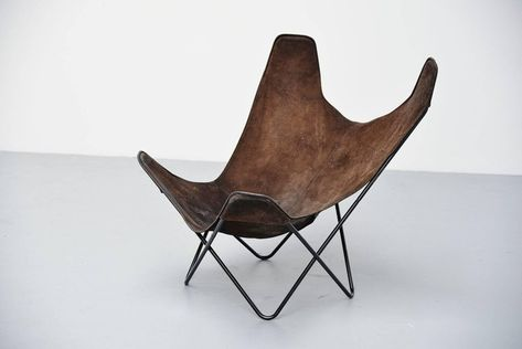 Poltrona Butterfly Knoll.Jorge Hardoy Ferrari Butterfly Chair Brown For Knoll 1970 3