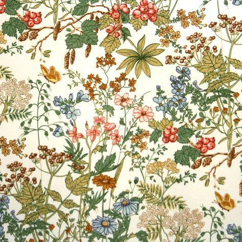 English Osman Hedge Row floral on brushed cotton