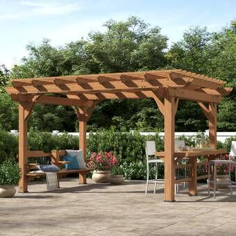 Oasis 14 Ft W X 10 Ft D Solid Wood Pergola In 2020 Wood Pergola Pergola Aluminum Pergola