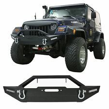 Rock Crawler Offroad Front Bumper W 2x Led Light For Jeep