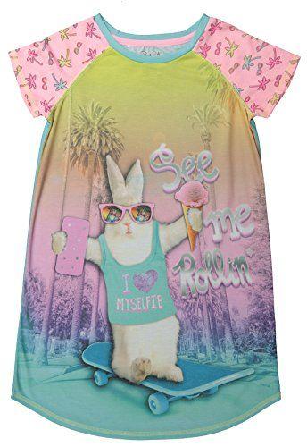 Girls Nightgown Short Sleeve Raglan Pajama Sleep Shirt