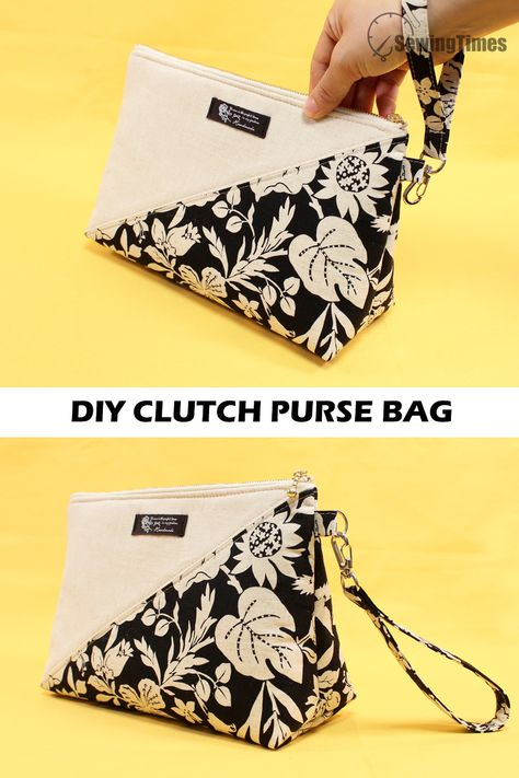 Diy Clutch, Diy Purse, Clutch Purse, Diy Pouch No Zipper, Zipper Bags, Vanity Bag, Pouch Pattern, Diy Sewing Projects, Sewing Crafts