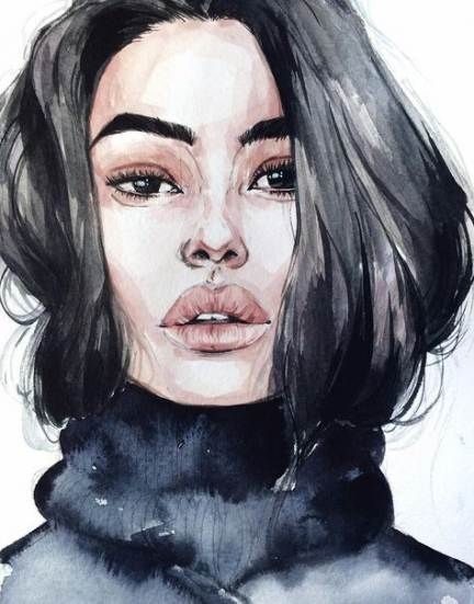 Personnages Par Myriam Onno Visage A L Aquarelle Portrait Au