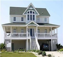 Beachfront Home Plan 6 Bedrms 5 5 Baths 3068 Sq Ft 130 1093 In 2020 Coastal House Plans Beach House Floor Plans House Plans