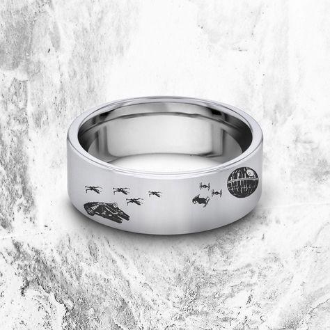 Star Wars Millenium Falcon Ring, Tie Fighters, Death Star Wedding Band, Darth Vader Ring