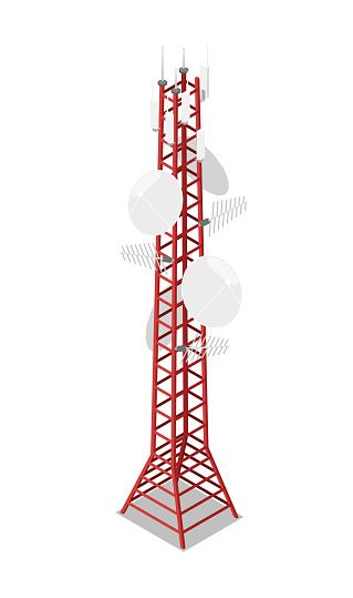 Stock Illustration Radio Tower Vector Towered Communication Technology Antenna Construction In City With Network Wireless Communication Tower Tower Cell Tower