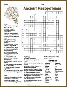 Ancient Mesopotamia Crossword Puzzle Worksheet Activity Crossword Puzzle Ancient Mesopotamia Mesopotamia