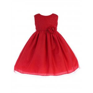 26c8a9c95e3 Crayon Kids Baby Girls Red Lace Flower Bow Flower Girls Dress 6-24M ...