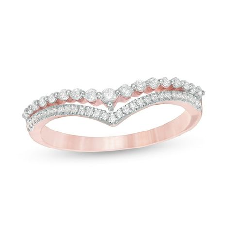1 4 Ct T W Diamond Double Chevron Anniversary Band In 10k Rose Gold In 2020 Diamond Anniversary Bands Anniversary Rings For Her Diamond Wedding Bands