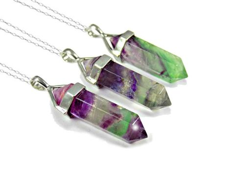 Boho Pendant Necklace 21st Birthday Gift For Her Rainbow Fluorite