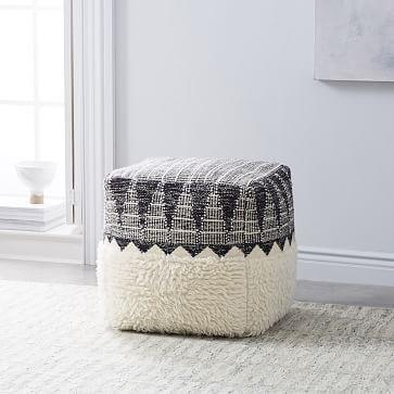 Ikat Border Pouf Ivory Floor Pillows Floor Pouf Floor Cushions