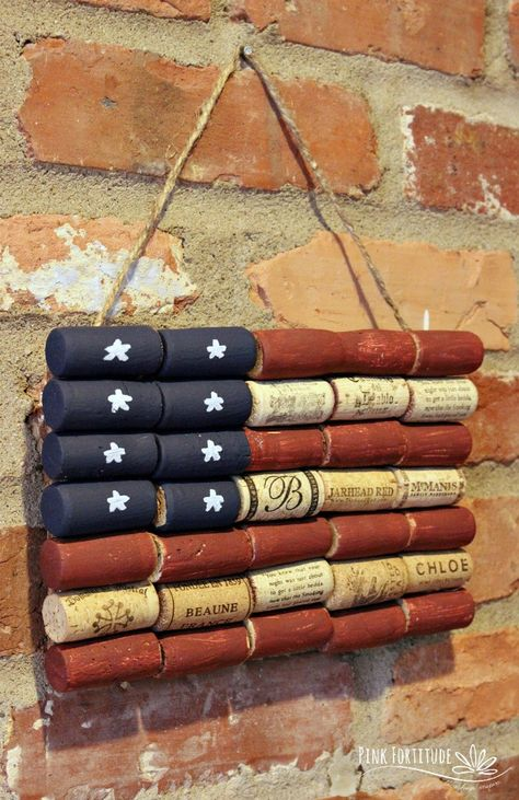 It doesn't get any more patriotic than the American flag, and this wine cork upc. - It doesn't get any more patriotic than the American flag, and this wine cork upcycle craft is not - Wine Craft, Wine Cork Crafts, Wine Bottle Crafts, Crafts With Corks, Patriotic Crafts, July Crafts, Summer Crafts, Upcycled Crafts, Handmade Crafts